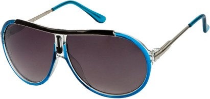 Angle of SW Oversized Aviator Style #6133 in Blue/Silver Frame, Women's and Men's