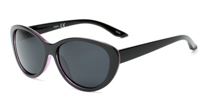 Angle of Petra #1312 in Black/Clear Purple Frame with Grey Lenses, Women's Cat Eye Sunglasses