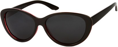 Angle of Petra #1312 in Black/Red Frame with Grey Lenses, Women's Cat Eye Sunglasses