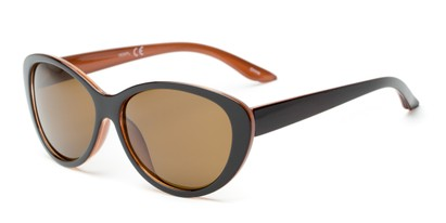 Angle of Petra #1312 in Brown/Orange Frame with Amber Lenses, Women's Cat Eye Sunglasses