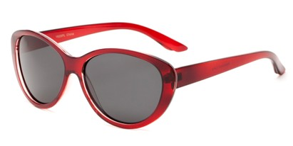 Angle of Petra #1312 in Red Frame with Grey Lenses, Women's Cat Eye Sunglasses