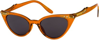 Angle of SW Rhinestone Cat Eye Style #4890 in Orange Frame, Women's and Men's