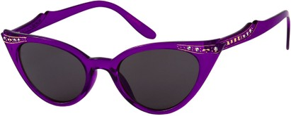 Angle of SW Rhinestone Cat Eye Style #4890 in Purple Frame, Women's and Men's