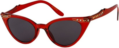 Angle of SW Rhinestone Cat Eye Style #4890 in Clear Red Frame, Women's and Men's