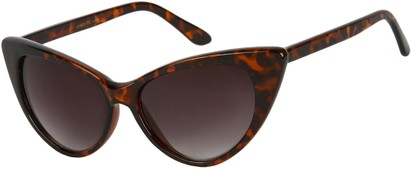 Angle of Victoria #1272 in Brown Tortoise Frame with Smoke Lenses, Women's Cat Eye Sunglasses