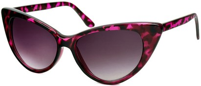 Angle of Victoria #1272 in Purple Tortoise Frame with Smoke Lenses, Women's Cat Eye Sunglasses