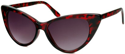 Angle of Victoria #1272 in Red Tortoise Frame with Smoke Lenses, Women's Cat Eye Sunglasses