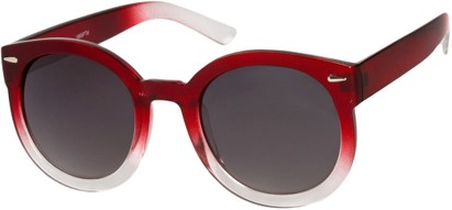 Angle of SW Oversized Round Style #7140 in Red Fade Frame, Women's and Men's