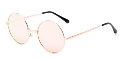 Angle of Orbit #1872 in Rose Gold Frame with Pink Mirrored Lenses, Women's Round Sunglasses