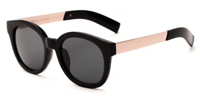 Angle of Barbarita #1894 in Black/Gold Frame with Smoke Lenses, Women's Round Sunglasses