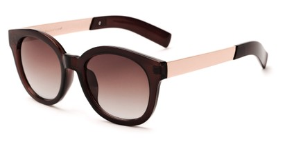 Angle of Barbarita #1894 in Brown/Gold Frame with Amber Lenses, Women's Round Sunglasses