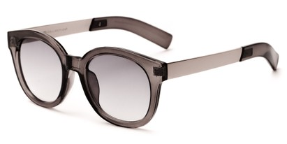 Angle of Barbarita #1894 in Grey/Silver Frame with Smoke Lenses, Women's Round Sunglasses