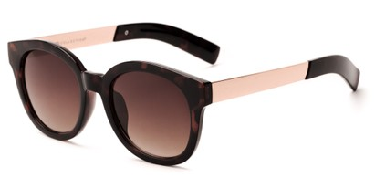 Angle of Barbarita #1894 in Tortoise/Gold Frame with Amber Lenses, Women's Round Sunglasses