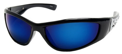 Angle of SW Flames Style #1950 in Black Frame with Blue Lenses, Women's and Men's