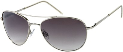 Angle of SW Aviator Style #1182 in Silver Frame with Grey Lenses, Women's and Men's