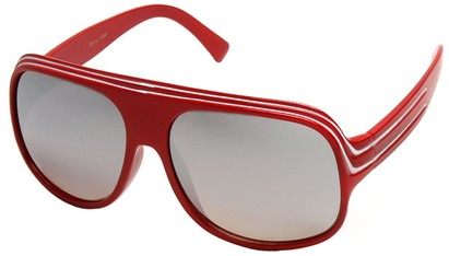 Angle of SW Mirrored Celebrity Style #1963 in Red and White Frame, Women's and Men's