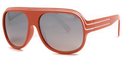 Angle of SW Mirrored Celebrity Style #1963 in Orange and White Frame, Women's and Men's