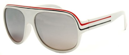 Angle of SW Mirrored Celebrity Style #1963 in White, Red and Black Frame, Women's and Men's