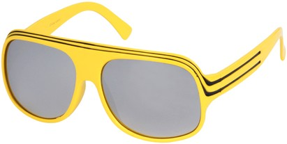 Angle of SW Mirrored Celebrity Style #1963 in Yellow and Black Frame, Women's and Men's