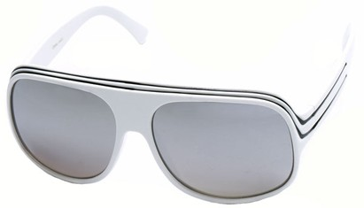 Angle of SW Mirrored Celebrity Style #1963 in White and Black Frame, Women's and Men's