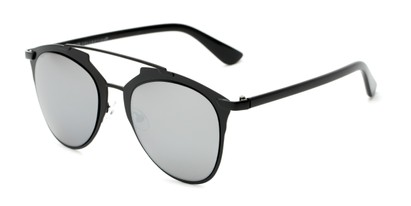 Angle of Pollo #1990 in Matte Black Frame with Silver Mirrored Lenses, Women's and Men's Aviator Sunglasses