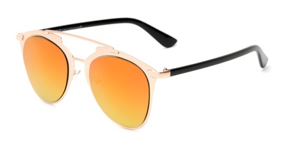 Angle of Pollo #1990 in Matte Rose Gold/Black Frame with Orange/Yellow Mirrored Lenses, Women's and Men's Aviator Sunglasses