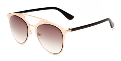 Angle of Pollo #1990 in Matte Rose Gold/Brown Frame with Smoke Lenses, Women's and Men's Aviator Sunglasses