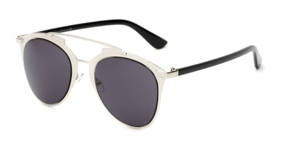 Angle of Pollo #1990 in Glossy Silver/Black Frame with Grey Lenses, Women's and Men's Aviator Sunglasses