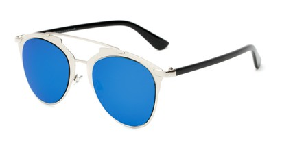 Angle of Pollo #1990 in Glossy Silver/Black Frame with Blue Mirrored Lenses, Women's and Men's Aviator Sunglasses