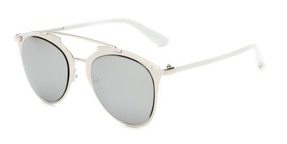 Angle of Pollo #1990 in Glossy Silver/White Frame with Silver Mirrored Lenses, Women's and Men's Aviator Sunglasses