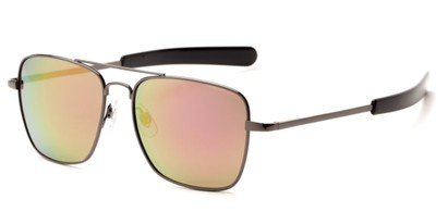 Angle of Salvador #2007 in Grey Frame with Purple/Yellow Mirrored Lenses, Women's and Men's Aviator Sunglasses