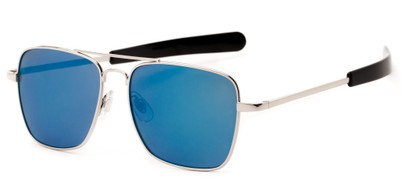Angle of Salvador #2007 in Silver Frame with Blue Mirrored Lenses, Women's and Men's Aviator Sunglasses