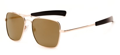Angle of Salvador #2007 in Gold Frame with Gold Mirrored Lenses, Women's and Men's Aviator Sunglasses