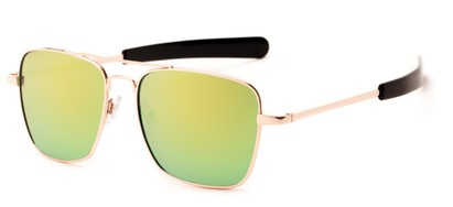 Angle of Salvador #2007 in Gold Frame with Yellow/Blue Mirrored Lenses, Women's and Men's Aviator Sunglasses