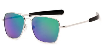 Angle of Salvador #2007 in Silver Frame with Purple/Green Mirrored Lenses, Women's and Men's Aviator Sunglasses