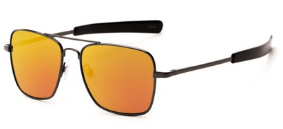 Angle of Salvador #2007 in Grey Frame with Orange Mirrored Lenses, Women's and Men's Aviator Sunglasses