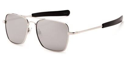 Angle of Salvador #2007 in Silver Frame with Silver Mirrored Lenses, Women's and Men's Aviator Sunglasses