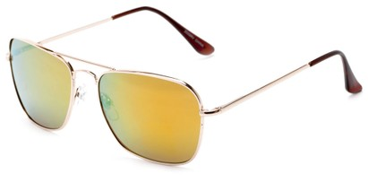 Angle of Belize #2009 in Gold Frame with Yellow Mirrored Lenses, Women's and Men's Aviator Sunglasses
