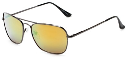 Angle of Belize #2009 in Grey Frame with Yellow Mirrored Lenses, Women's and Men's Aviator Sunglasses