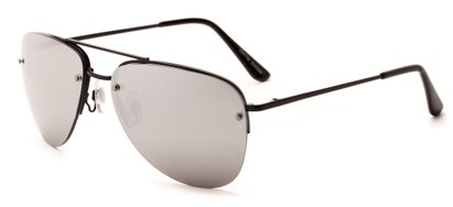 Angle of Morant #2047 in Black Frame with Silver Mirrored Lenses, Women's and Men's Aviator Sunglasses
