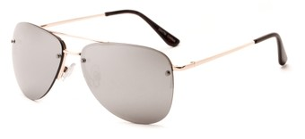 Angle of Morant #2047 in Gold Frame with Silver Mirrored Lenses, Women's and Men's Aviator Sunglasses