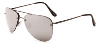 Angle of Morant #2047 in Grey Frame with Silver Mirrored Lenses, Women's and Men's Aviator Sunglasses