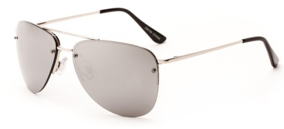 Angle of Morant #2047 in Silver Frame with Silver Mirrored Lenses, Women's and Men's Aviator Sunglasses