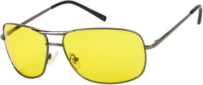Angle of Roadie #20540 in Grey Frame with Yellow Lenses, Men's Aviator Sunglasses