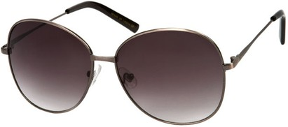 Angle of SW Oversized Style #4790 in Brushed Silver Frame with Dark Smoke Lenses, Women's and Men's