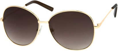 Angle of SW Oversized Style #4790 in Glossy Gold Frame with Dark Grey Lenses, Women's and Men's