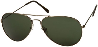 Angle of SW Aviator Style #410 in Grey Frame with Green Lenses, Women's and Men's