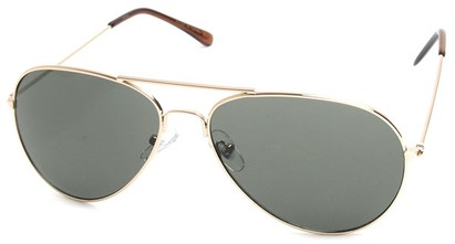 Angle of SW Aviator Style #410 in Gold Frame with Green Lenses, Women's and Men's