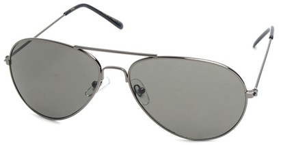 Angle of SW Aviator Style #410 in Grey Frame with Grey Lenses, Women's and Men's