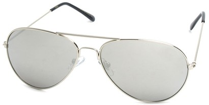 Angle of SW Aviator Style #410 in Silver Frame with Mirrored Lenses, Women's and Men's